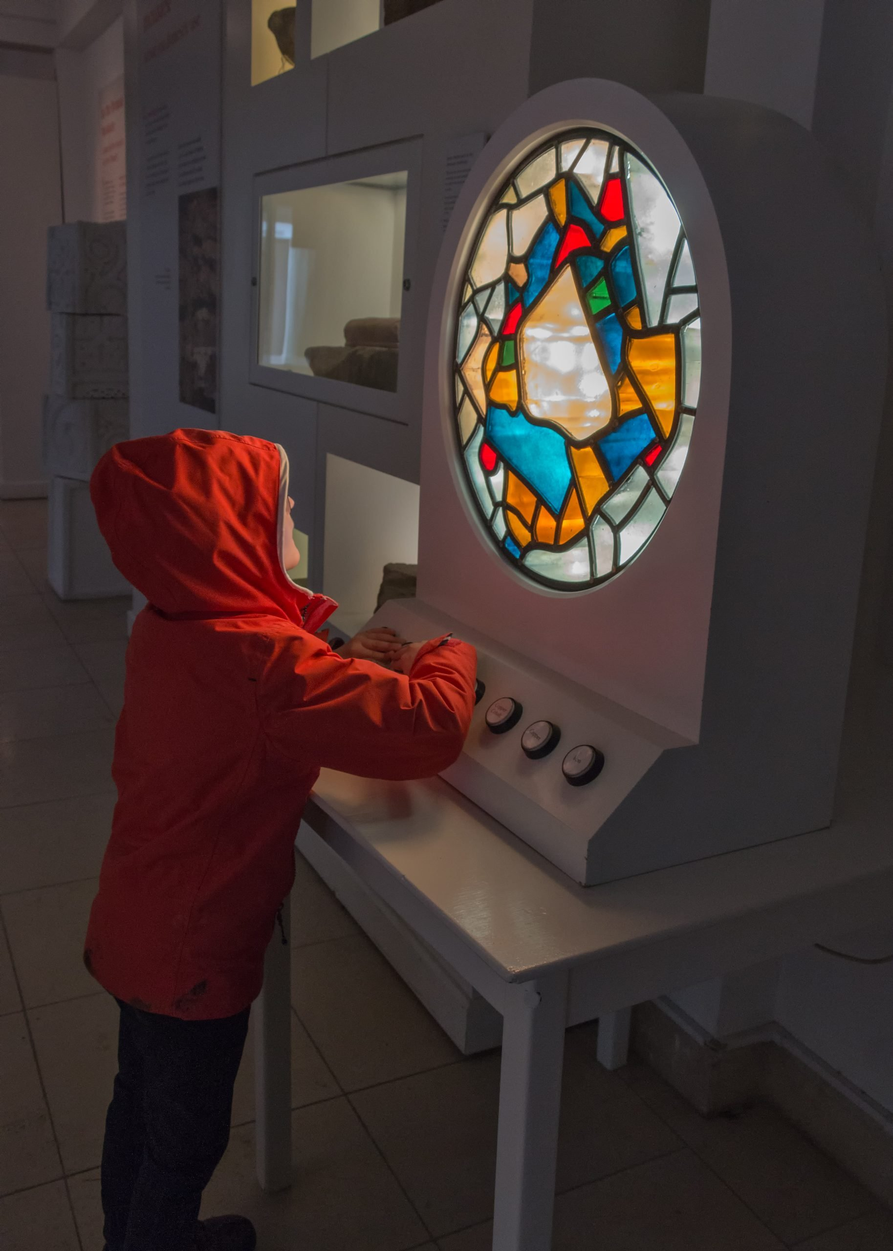 Learning about ancient coloured glass inside the Bede Museum at Jarrow Hall