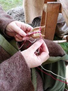 textile craft activity using a lucet